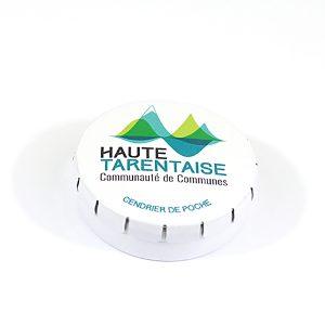 Cendrier de poche en métal blanc personnalisé Haute Tarentaise