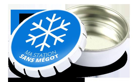 cendrier de poche clic clac en métal blanc personnalisable