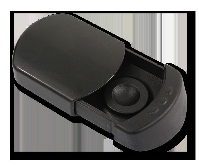 cendrier de poche slide noir en plastique, personnalisable.